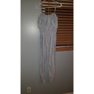 Blue and white striped pants suit